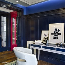 地中海风格深蓝色书房设计