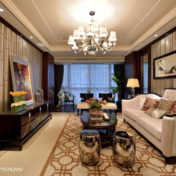 家装中式风格样板房客厅装修