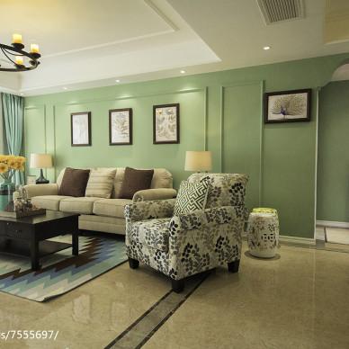 薄荷绿美式客厅设计
