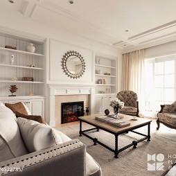 美式风格白色壁炉设计