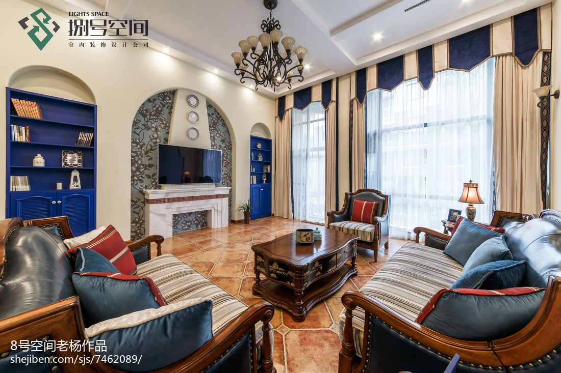 大气地中海风格别墅客厅设计