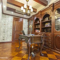 美式红橡木色调书房设计