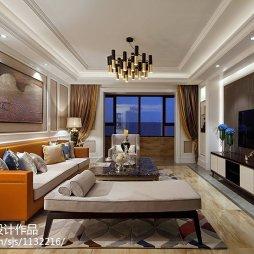 新古典风格样板房客厅布置