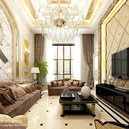 金色简欧风格客厅装修