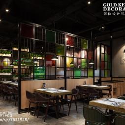 工业风西餐厅就餐区设计