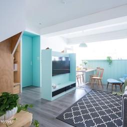 北欧风蓝色系客厅装修