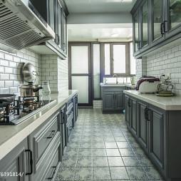 藍色美式格調廚房裝修