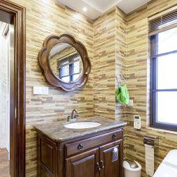 美式别墅卫浴洗手台柜设计