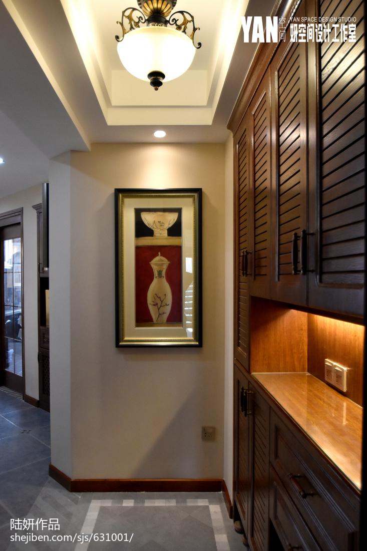 家装欧式风格效果图_美式风格玄关鞋柜设计 – 设计本装修效果图