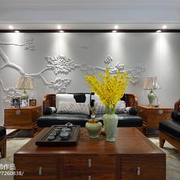 中式客厅软包沙发背景墙设计
