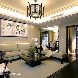 优雅中式客厅书法壁画设计