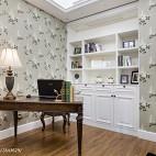 美式书房碎花壁纸设计