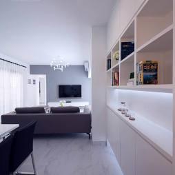 89㎡的高级黑白灰简约客厅收纳柜设计图