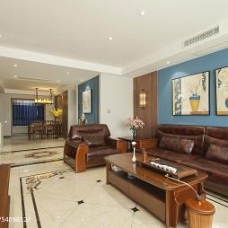 中式客厅皮质沙发