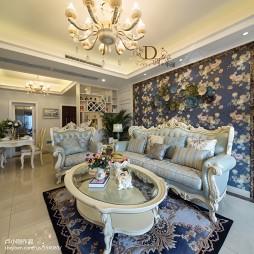 简欧风格碎花沙发背景墙设计