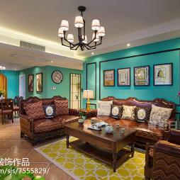 美式客厅蓝色墙漆