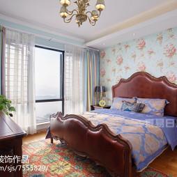 浪漫美式卧室窗帘效果图