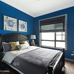 美式卧室蓝色墙漆