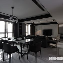 黑白色现代风格客厅吊顶