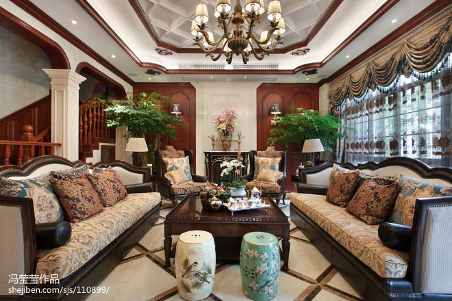 端庄美式别墅客厅设计