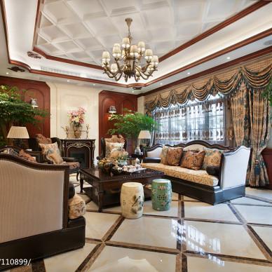 复古美式客厅效果图