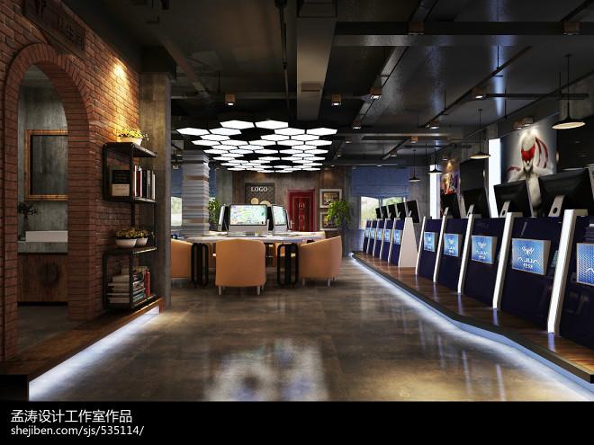 网咖装修效果图设计-漫咖啡风格网咖_