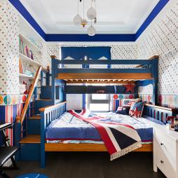蓝白美式上下床儿童房