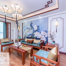 优雅中式客厅壁画背景墙