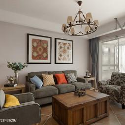 美式客厅沙发布置