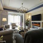 美式客厅壁炉电视墙