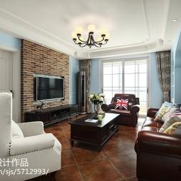 美式客厅深棕色皮质沙发