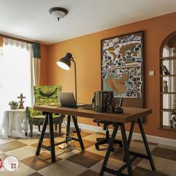书房橙色背景墙