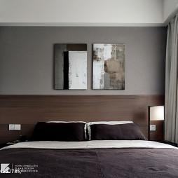 现代卧室床头油画设计图