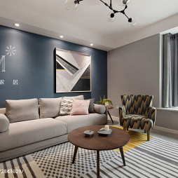 107m²现代北欧客厅沙发设计图