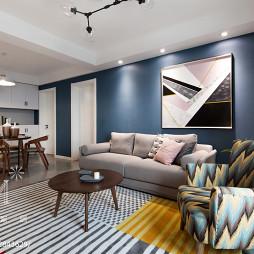 107m²现代北欧客厅沙发组合设计图