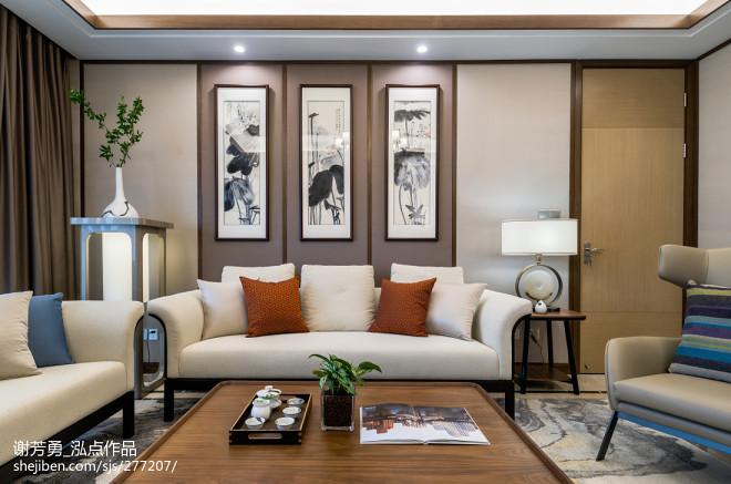 唯美新中式客厅沙发设计图