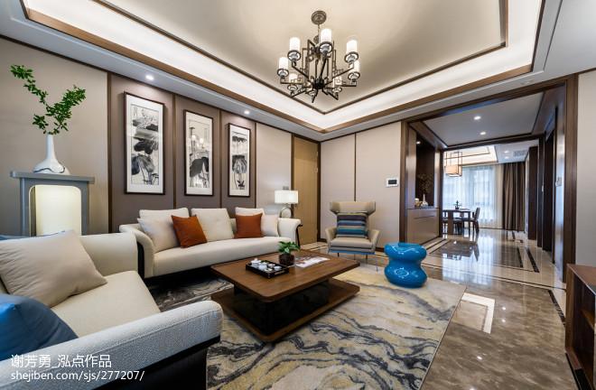 唯美新中式客厅大理石设计图