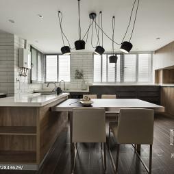 180m²現代風餐厅厨房一体设计图