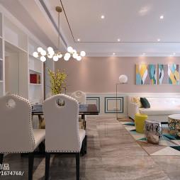 浪漫法式风格餐厅客厅一体设计图