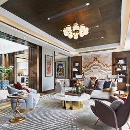 混搭風格樣板房客廳沙發組合設計圖