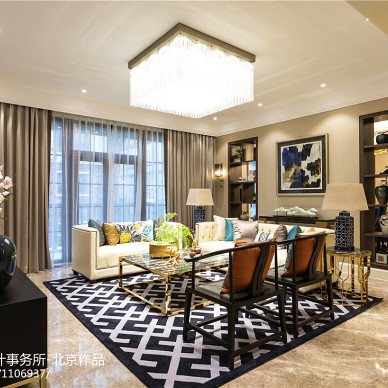 简单中式别墅客厅设计图片