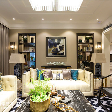 简单中式别墅客厅沙发设计图
