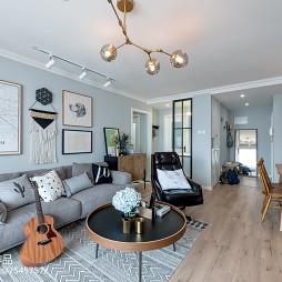 北欧风格二居客厅沙发摆放图