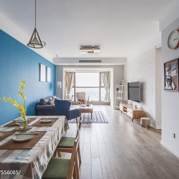 北欧风三居客厅餐厅一体设计图