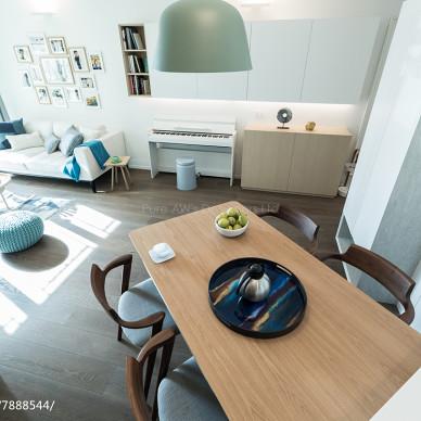簡歐風三居客廳餐廳一體設計圖