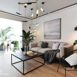 简单现代三居客厅设计效果图