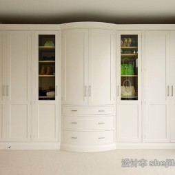 没事风格白色木质整体衣柜图片