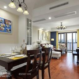 美式四居餐厅客厅一体设计图