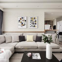 简约北欧二居客厅L形沙发设计图