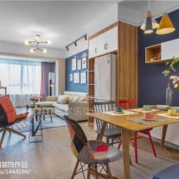 120平方北欧三居餐厅客厅一体设计图
